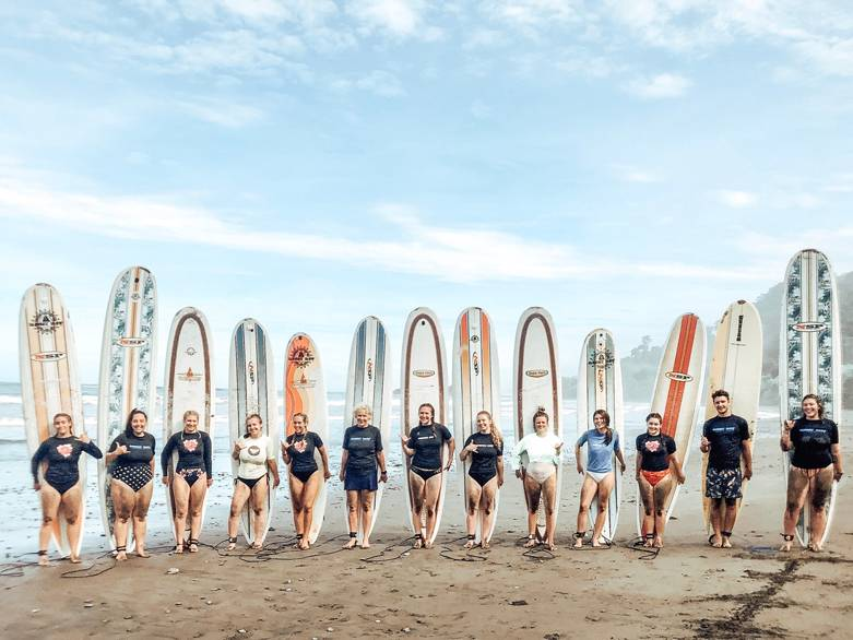 2019 GVSU HTM Costa Rica students learning to surf